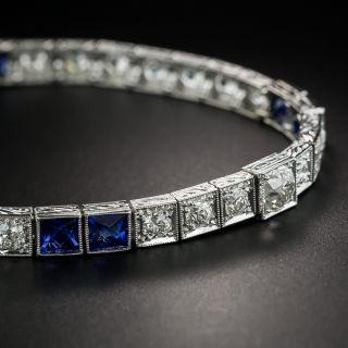 Art Deco Diamond and Sapphire Line Bracelet - 2
