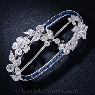 Art Deco Diamond and Sapphire Oval Wreath Brooch