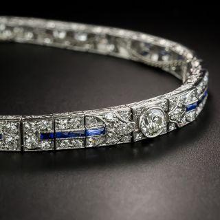 Art Deco Diamond and Sapphire Tapered Line Bracelet - 2