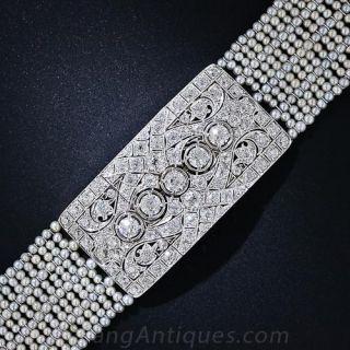Art Deco Diamond and Seed Pearl Choker - 1