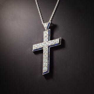 Art Deco Diamond and Synthetic Sapphire Cross - 1