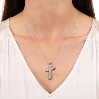 Art Deco Diamond and Synthetic Sapphire Cross