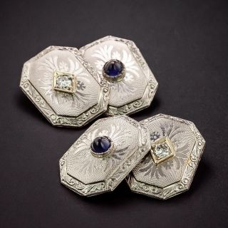 Art Deco Diamond and Synthetic Sapphire Cuff Links - 1