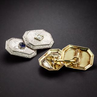 Art Deco Diamond and Synthetic Sapphire Cuff Links