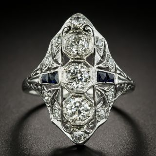 Art Deco Diamond and Synthetic Sapphire Dinner Ring - 3