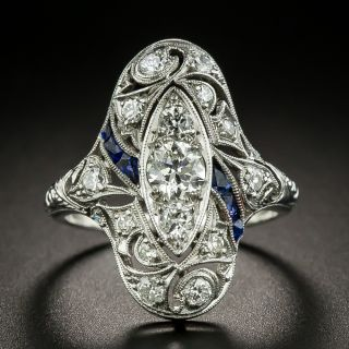 Art Deco Diamond and Synthetic Sapphire Dinner Ring - 2