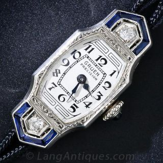 Art Deco Diamond and Synthetic Sapphire Gruen Lady's Watch