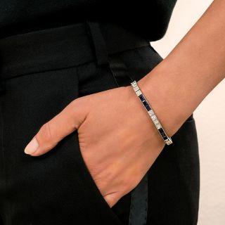 Art Deco Diamond and Synthetic Sapphire Line Bracelet