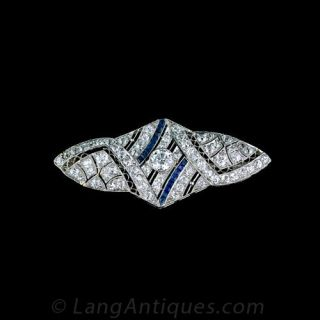 Art Deco Diamond and Synthetic Sapphire Pin Main View