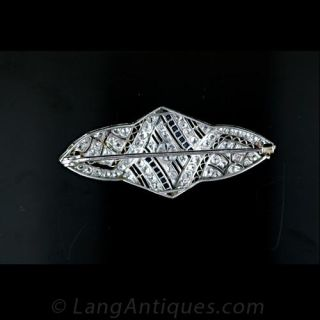 Art Deco Diamond and Synthetic Sapphire Pin
