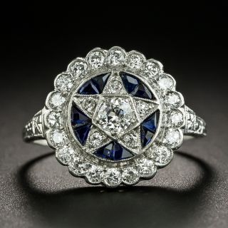 Art Deco Diamond and Synthetic Sapphire Star Ring by Katz and Ogush - 1