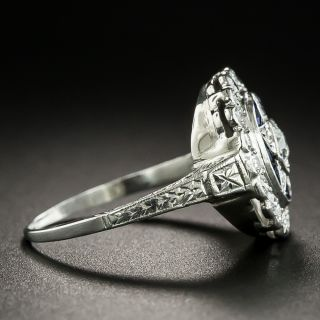 Art Deco Diamond and Synthetic Sapphire Star Ring by Katz and Ogush