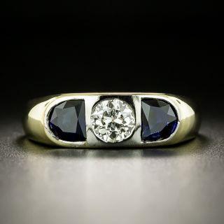 Art Deco Diamond and Synthetic Sapphire Three-Stone Ring - 2