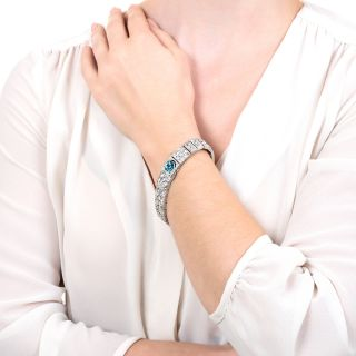 Art Deco Diamond Bracelet Watch with Blue Zircon Clasp