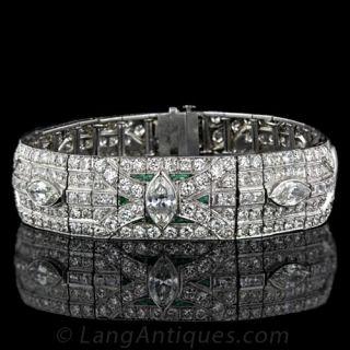 Art Deco Diamond Bracelet with Calibre Emeralds - 1