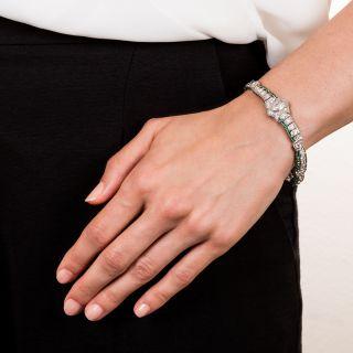 Art Deco Diamond, Calibre Emerald and Platinum Bracelet