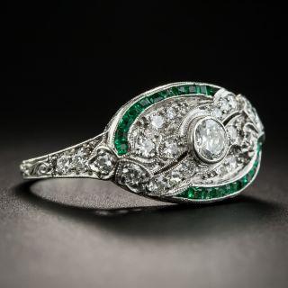 Art Deco Diamond Calibre Emerald Ring