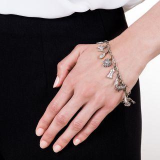 Art Deco Diamond Charm Bracelet