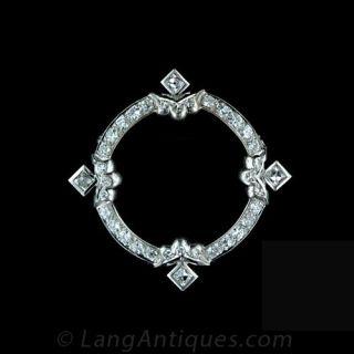 Art Deco Diamond Circle Pin Main View