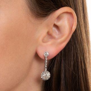 Art Deco Diamond Dangle Earrings - GIA