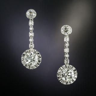 Art Deco Diamond Dangle Earringss  - 2