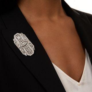 Art Deco Diamond Double-Clip Brooch