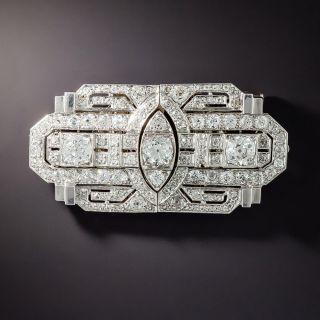 Art Deco Diamond Double-Clip Brooch - 1