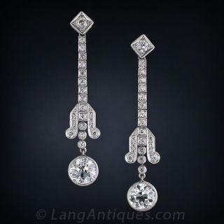 Art Deco Diamond Drop Earrings in Platinum - 1