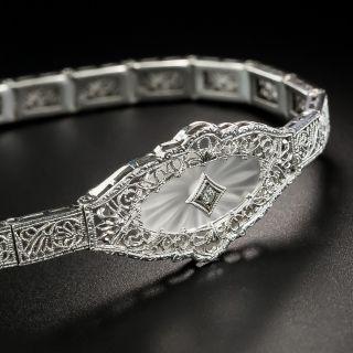 Art Deco Diamond Filigree Bracelet  - 4