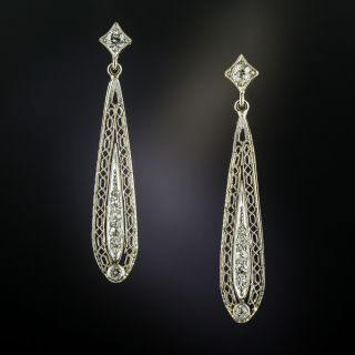 Art Deco Diamond Filigree Drop Earrings