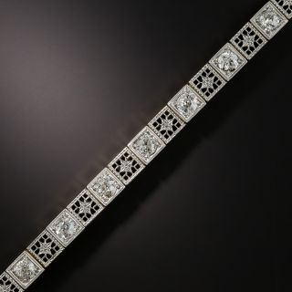 Art Deco Diamond Filigree Line Bracelet