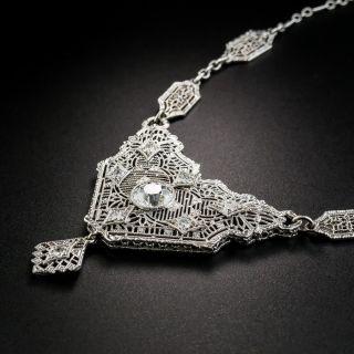 Art Deco Diamond Filigree Necklace