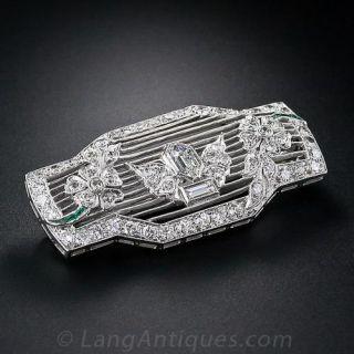 Art Deco Diamond Floral Motif Brooch