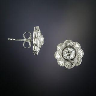 Art Deco Diamond Flower Stud Earrings - 2