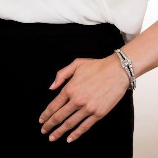 Art Deco Diamond Onyx Platinum Bracelet