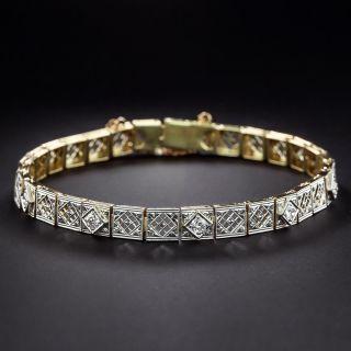 Art Deco Diamond Openwork Link Bracelet  - 1