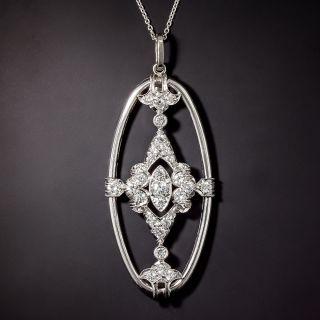 Art Deco Diamond Oval-Shaped Pendant - 0