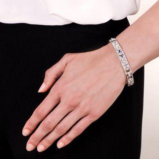 Art Deco Diamond Platinum Calibre Sapphire Bracelet