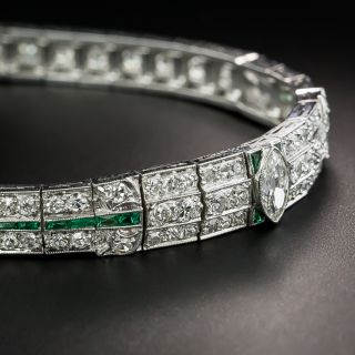 Art Deco Diamond Platinum Green Glass Bracelet