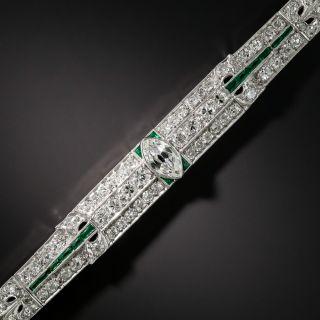 Art Deco Diamond Platinum Green Glass Bracelet - 6