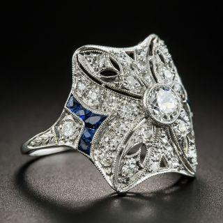 Art Deco Diamond Ring with Calibre Sapphire Accents