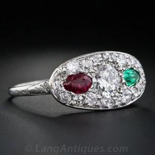 Art Deco Diamond, Ruby and Emerald Ring