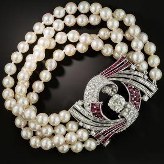 Art Deco Diamond Ruby Platinum Pearl Bracelet - 2