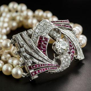 Art Deco Diamond Ruby Platinum Pearl Bracelet