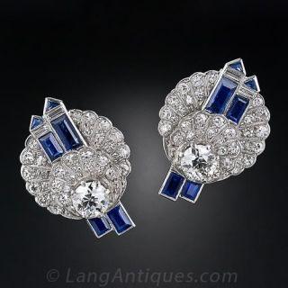 Art Deco Diamond Sapphire and Platinum Earrings - 1