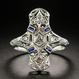Art Deco Diamond Sapphire Platinum Dinner Ring - 1