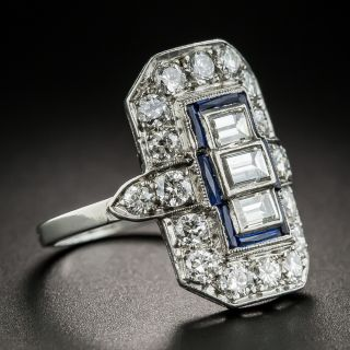 Art Deco Diamond Sapphire Platinum Dinner Ring
