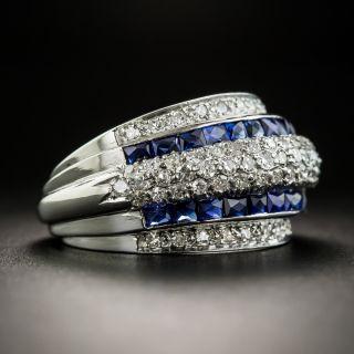 Art Deco Diamond Synthetic Sapphire Band Ring