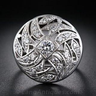 Art Deco Domed Diamond Cocktail Ring  - 1