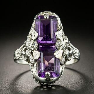 Art Deco Double Amethyst Ring by J.J. White - 3